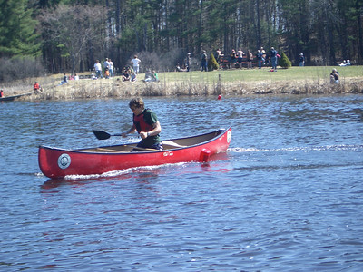 WW2008 at UNH. Phil in singles canoe for Dartmouth men's team.  Note the close trim to the red buoy.