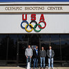 The cadets pose in front of the Olympic Shooting Center at the US Olympic Training Center, in Colorado Springs.