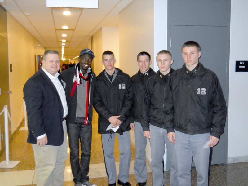 Chaplain Benson and the cadets met with US Olympian Lopez Lomong, a speaker at the NCLS.  Lomong has two younger brothers currently enrolled in Middle School at FUMA.