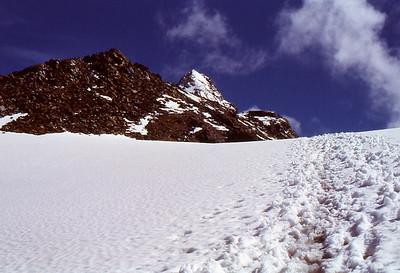 Footprints lead to pyramid of Kleinglockner (el. 3770m)