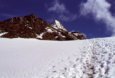 Footprints lead to pyramid of Kleinglockner (el. 3770m)