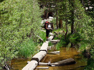 Crossing the logs just below Lone Pine Lake