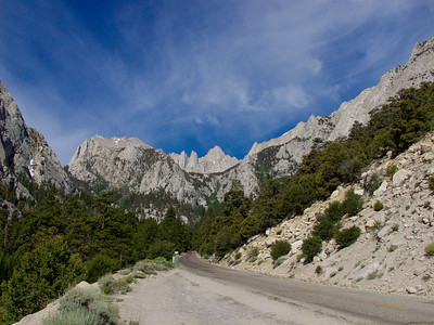 View on Thor Peak, Needles and Mount Whitney from Whitney Portal Road. In the center North Fork Lone Pine Creek drainage.