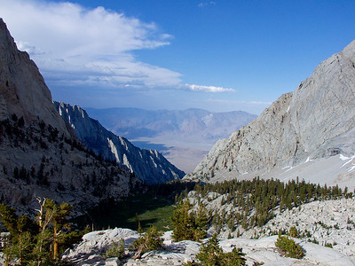 View to Bighorn Park and Ovens Valley with Inyo Mountains in the background. Portion of the Lone Pine Lake is visible in the center of the image
