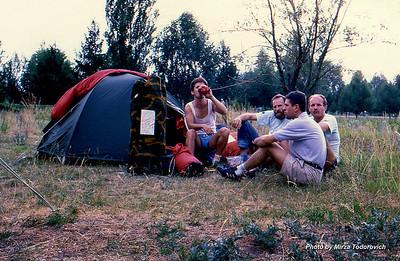 Camping next to airport's runaway. Durmo, Hamo, Zlaja and Naim. Karakol.  - Kampujemo neposredno pored avinske piste. Durmo, Hamo, Zlaja i Naim odmaraju ispred satora. Karakol.