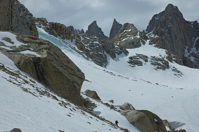 We took upper left side of the slopes under Thor Peak. It is easier to gain elevation.