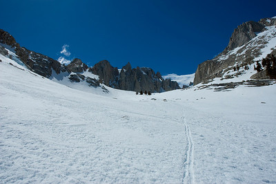 The rocky slabs are somewhere under the snow. Now it is easy to go up. Just go strait.