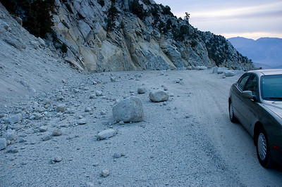 Whitney Portal Road is full with rocks and other debris this time of the year.