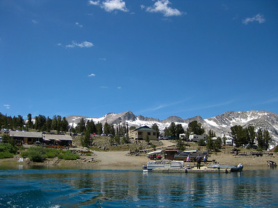 View on Saddlebag Resort from Boat Taxi. Lake elevation is 10,087 ft.