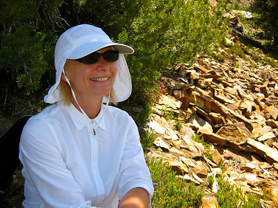 Resting in the shade at Hummingbird Lake (el. 10,237 ft.).