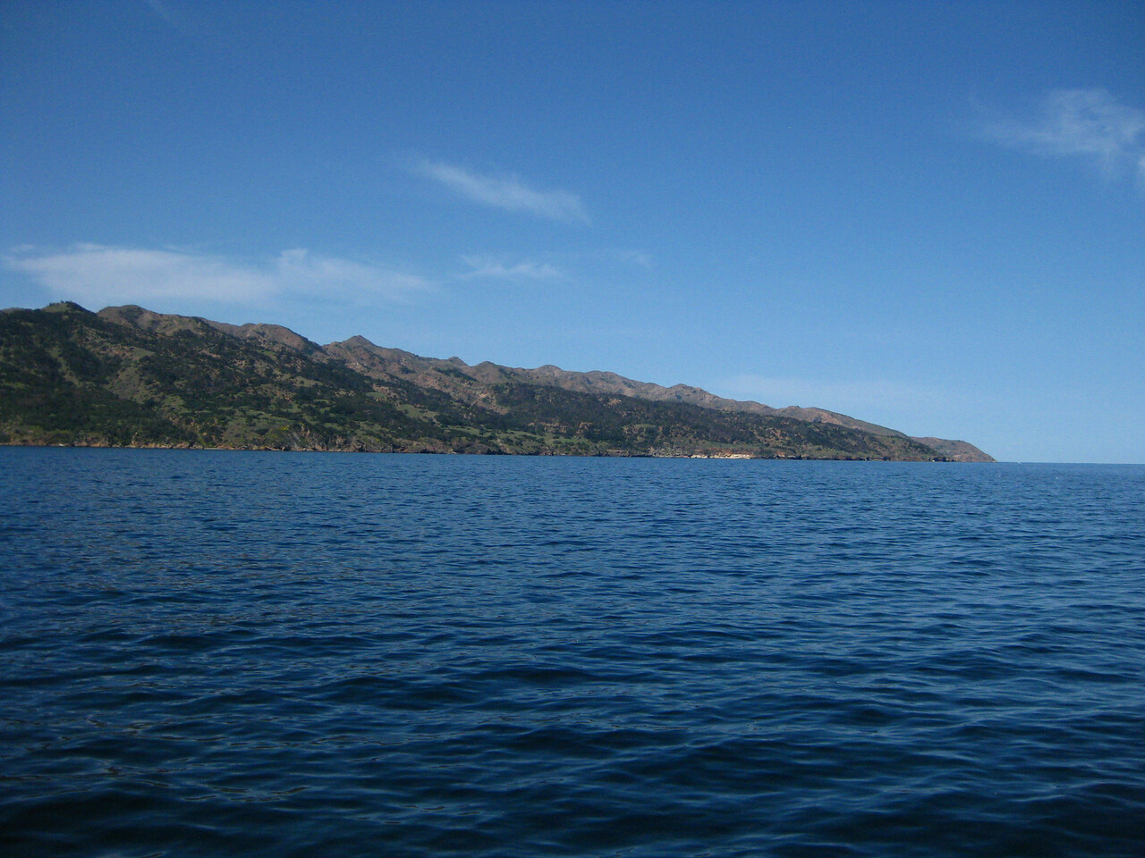 View toward Prisoners Harbor and beautiful green slopes of Santa Cruz Island