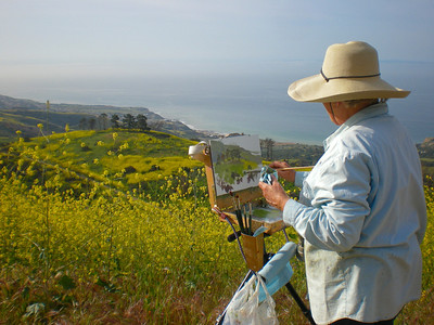 Artist Kathy O'Leary from Eureka, CA at work.