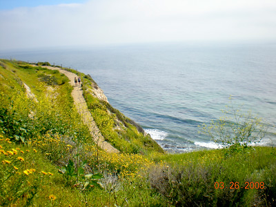 Few switchbacks are leading down to the rocky beach.