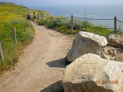 The trail on the top of the cliffs with wide view on the ocean.