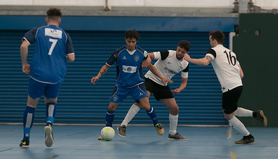Raoni Medina in action during  London Helvecia Futsal Club 6-2 Kettering Futsal Club. Futsal FA Cup Round match. Score Centre Leyton. 24.04.2017