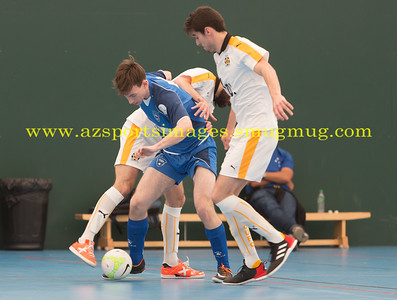 Calvin Dickson come under pressure from two CUFC players during LONDON HELVECIA v CAMBRIDGE UNITED FUTSAL. FA National Super League Play-Off. 2nd Leg Quarter-Final. Score Centre. 21.05.2017