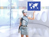 futuristic children girl in silver touch finger world map