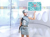 futuristic children girl in silver finger touch images