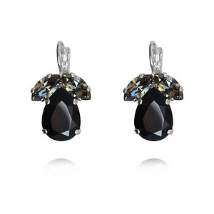 Timo Earrings / Jet + Black Diamond / Rhodium