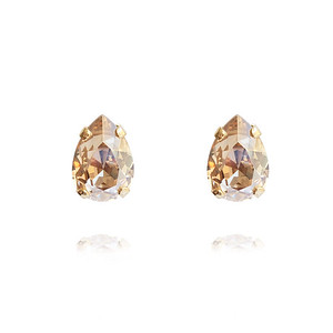 Petite Drop Stud Earrings / Golden Shadow Gold