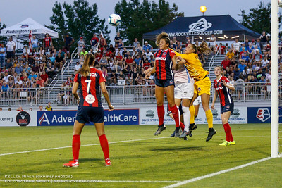 Washington Spirit goalkeeper Aubrey Bledsoe (1) punches the ball away from the goal at Maureen Hendricks Field in Boyds, MD, on July 20, 2019.