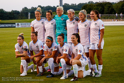 Houston Dash Starting XI (rear l-r) Kristie Mewis (19), =h11#2, Jane Campbell (1), Sophie Schmidt (13), Rachel Daly (3), Ally Prisock (23), (front l-r) Kealia Ohai (7), Sofia Huerta (11), Christine Nairn (10), Haley Hanson (9), Allysha Chapman (4) at Maureen Hendricks Field in Boyds, MD, on July 20, 2019.