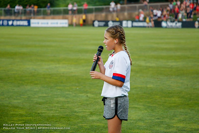 The National Anthem being performed before the Washington Spirit v Houston Dash game at Maureen Hendricks Field in Boyds, MD, on July 20, 2019.