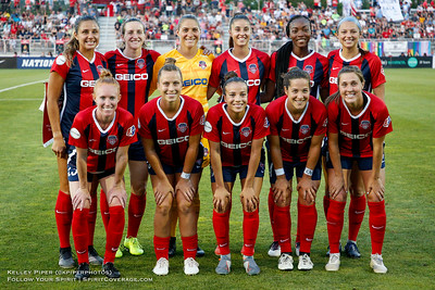 Washington Spirit starting XI (rear l-r) Sam Staab (3), Andi Sullivan (12), Aubrey Bledsoe (1), Amy Harrison (7), Cheyna Matthews (20), Ashley Hatch (33) (front l-r) Tori Huster (23), Meggie Dougherty Howard (8), Mallory Pugh (11), Paige Nielsen (14), Jordan DiBiasi (4) at Maureen Hendricks Field in Boyds, MD, on July 20, 2019.