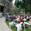 First year trips in front of Robinson Hall and meeting on the Green