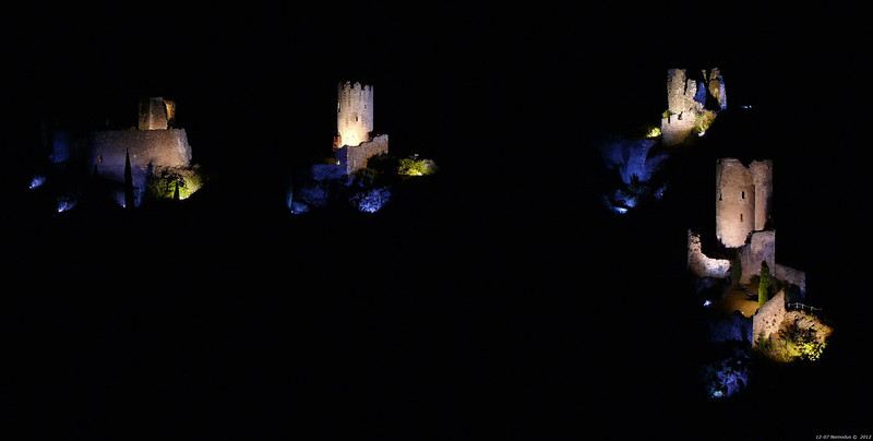 FZ50 - Lastours, Cathar Castle by Night (Sound and light)<br /> f/5.0 - 4s - 90 mm - 100 iso
