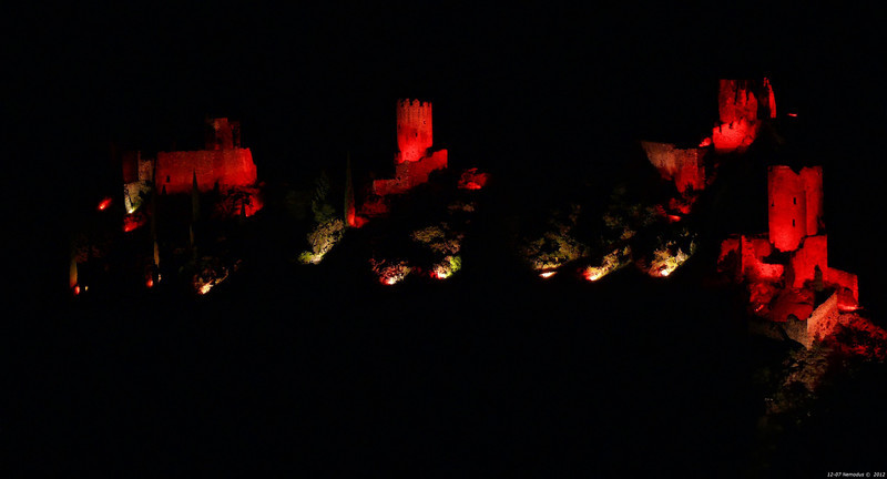 FZ50 - Lastours, Cathar Castle by Night (Sound and light)<br /> f/5.6 - 6s - 92 mm - 100 iso