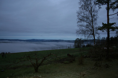 Tåke og frostrøyk over Mjøsa