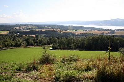 Utsikt over Mjøsa mot Gjøvik og Toten. Hjorten har vakker utsikt fra hegnet.