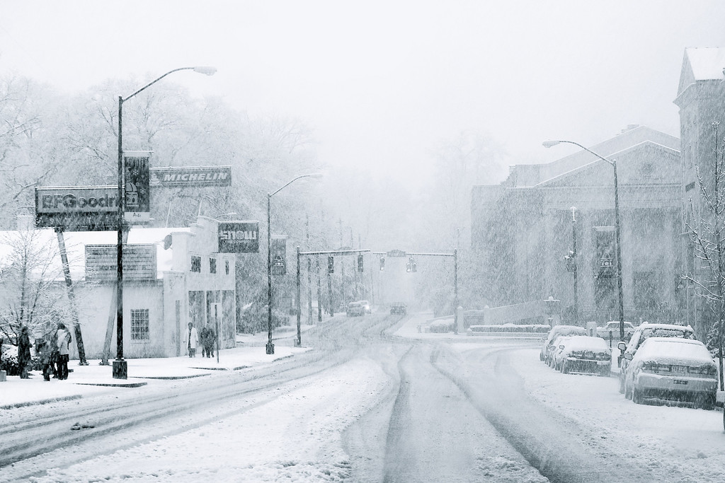 """Athens, GA (Clarke County) March 2009<br /> <br /> A rare snowstorm leaves 7"""" of snow on our town on March 1, 2009. This is Hancock Avenue, looking west, with Snow Tire Company on the left."""