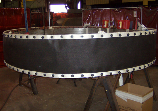Round Fabric expansion joint in fabrication