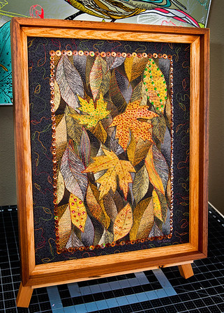 Black Forest - Embellished Art Quilt - Framed in Walnut & Oak