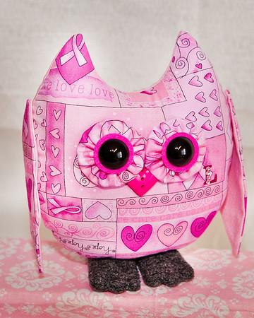 Breast Cancer Awarness -Stuffed Owl Pal $23 + Shipping