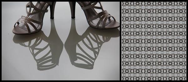 Wedding shoes on glass table, Bundaleer Rainforest Gardens, Brookfield, Qld