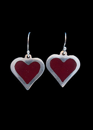 Champlevé opaque red enamel heart earrings. Simple and pretty. Fine silver.  Approximately 1 12 inches from top of ear wires to tip of heart. 85.00