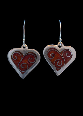 Champlevé and cloisonné enamel heart earrings. Tiny little treasures! Approximately 1 1/2 inches from top of ear wires to tip of heart. Fine silver. 110.00