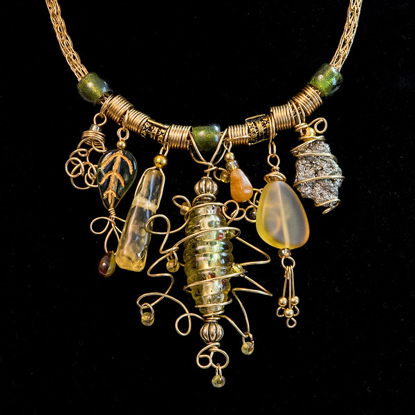 Gold Handmade Viking Knit Necklace with Wire Wrapped Focal Bead, Sea Glass, and Pyrite