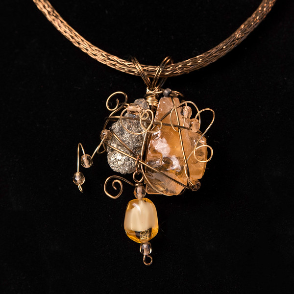 Bronze Wire Viking Knit Pendant  Necklace with Wire Wrapped Amber Color Calcite,  Pyrite