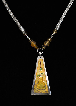 Fine Silver Champlevé and Cloisonné pear pendant. Citrine and carnelian beads, Sterling silver handwoven Viking Knit chain, hand made clasp. The pendant itself is 2 1/4 inches long by 1 1/4 inches wide. The chain is approximately 18 1/2 inches long. 375.00
