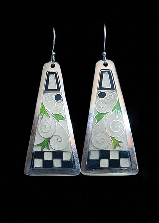 Fine Silver Champlevé and Cloisonné  trapezoid earrings with vine, leaf and checkerboard pattern. 1 7/8 inches long by 7/8 inch wide at bottom. The drop from the earwire is approximately 2 1/2 inches. Sterling silver ear wires and bead. 120.00