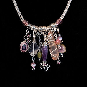Silver Viking Knit Charm Style Necklace, Wire Wrapped Quartz Crystals, and Glass Beads