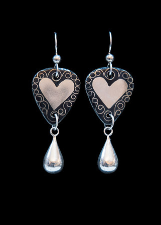 Cloisonné enamel earrings with embedded fine silver hearts. Sterling silver drops. Ear wires and findings are Argentium silver. Approximately 2 inches from top of ear wires to tip of drop. 135.00