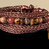 Copper Handmade Viking Knit Bracelet with Glass Beads in Warm Colors