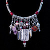 Silver Viking Knit Choker Charm Style Necklace with Crystals, Amethyst, Cloisonné Hibiscus