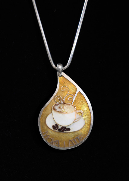 Fine Silver Champlevé and Cloisonné steaming coffee cup. Know any coffee lovers? Pendant measures 2 inches long, 1.5  inches at widest part. Sterling silver bail. Supported on a 16 inch Sterling Silver snake chain. 210.00