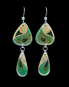 Cloisonné enamel paisley design earrings in 2 pieces. All findings are fine silver or Argentium silver. Approximately 2 1/2 inches from top of ear wires to bottom of silver teardrop.   135.00